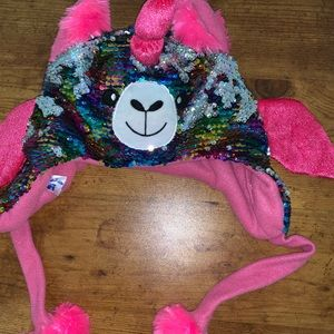 Girls sequin pull on hat